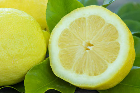natural lemons with green leaves, fruit and citrus