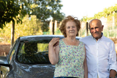 portrait of senior couple with car outdoors Imagens