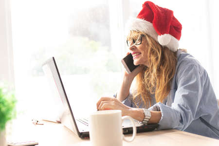 woman working in the office at christmas