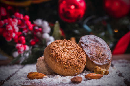 traditional christmas powders on rustic wood with ornaments