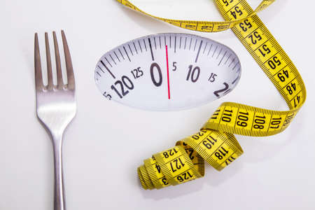 scale with fork and tape measure