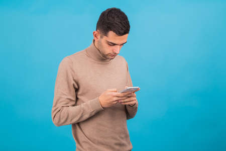 man with mobile phone isolated