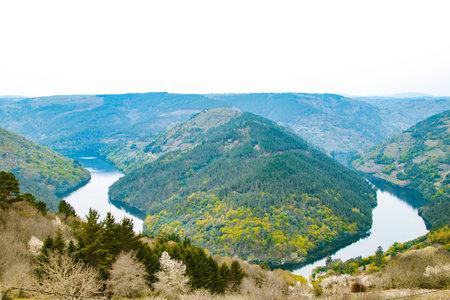 landscape of the ribeira sacra natural park in the sil canyon, galicia Stock Photo