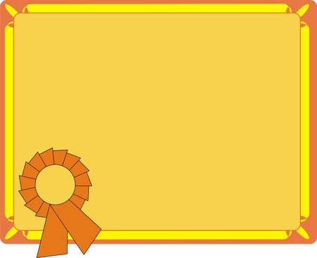 Blank Orange Certificate On Letter Format Vector