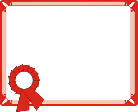 Blank Red Certificate On Letter Format Vector