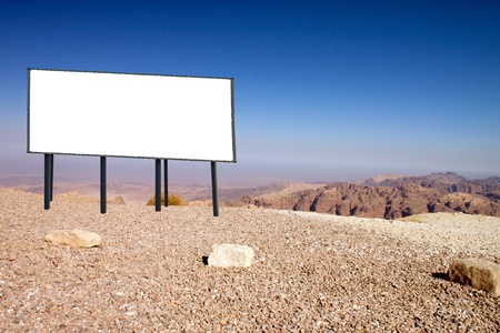 billboard in the desert of southern Jordan photo