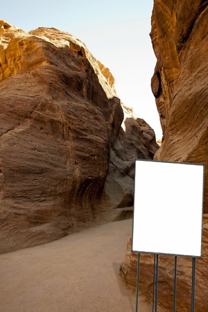 billboard in the desert of Petra, Jordan photo