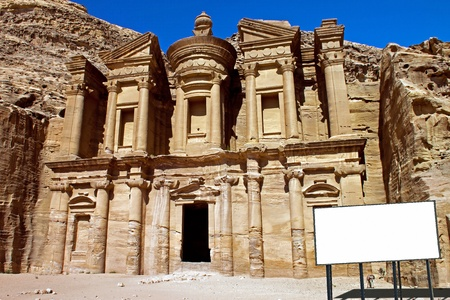 billboard in the Monastery in Petra Jordan photo