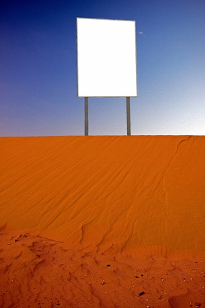 billboard in the desert of southern Jordan