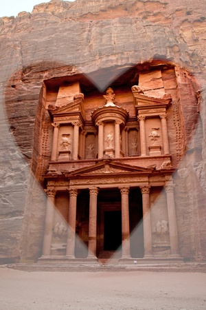 Monastery in Petra Jordan with a transparent heart photo
