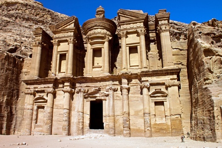 Ancient ruins of the Monastery of Petra in Jordan