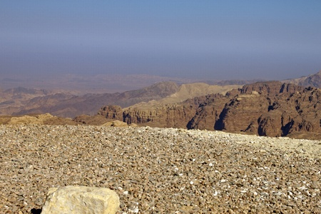 Rocky desert of southern Jordan in Asia Stock Photo