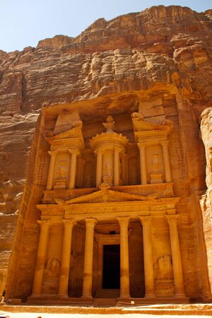 Ancient ruins of the Temple of Petra in Jordan photo