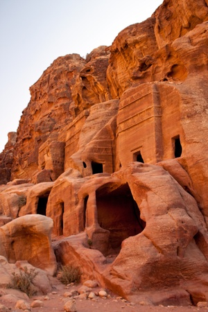 Ancient ruins of the City of Petra in Jordan photo