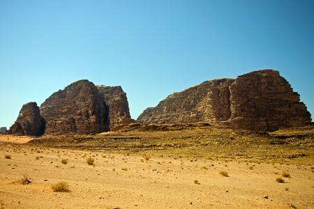 View of the desert of Wadi Rum in southern Jordan photo