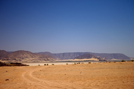 View of the desert of Wadi Rum in southern Jordan