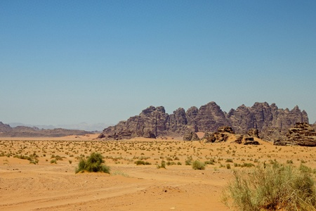 View of the desert of Wadi Rum in southern Jordan photo