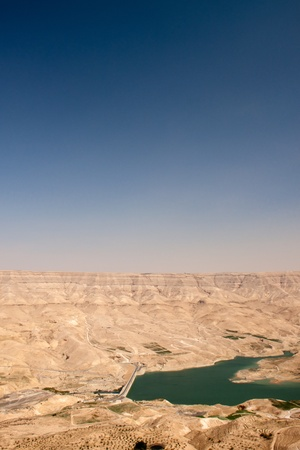 Dam in the desert of Jordan to the south-west of Amman photo