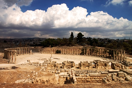 Panoramic view of the famous Oval Plaza in Jerash, Jordan