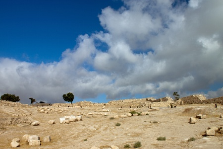 Ruins of the ancient citadel in Amman Jordan