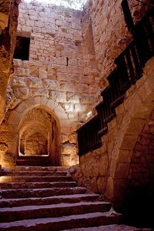 crusaders: Detail of the fortress, Ajloun, Jordan. Arab and crusaders fort. Stock Photo