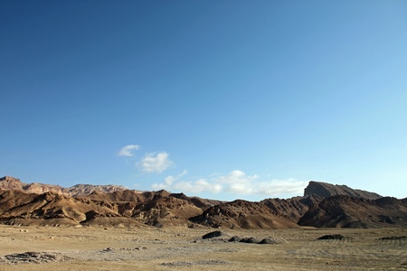 Mountain View of the rocky desert oasis of Tozeur, Tunisia photo