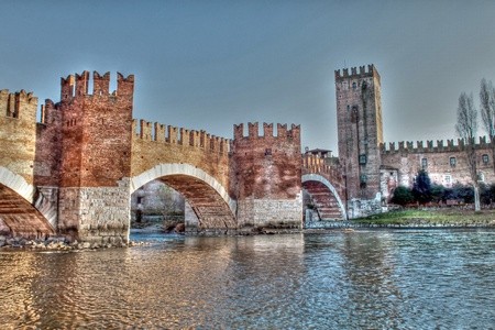 Bridge of Castelvecchio Verona in Italy Tonemapped photo