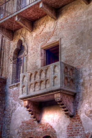 View of Balcony of Juliet (Romeo and Juliet) Verona Veneto Italy Tonemapped