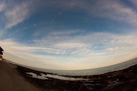 marsa: Beach view of Marsa Alam Red Sea in Fisheye, Egypt