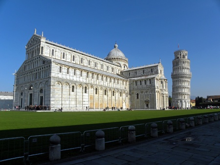 view of the cathedral of Pisa with the Leaning Tower of Pisa, Pisa, Italy photo