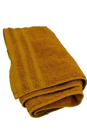 orange washcloth: Orange towel folded isolated on white background Stock Photo