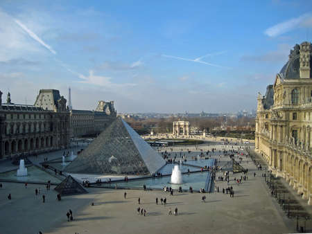 View of the Pyramid of the Louvre, Paris France Editorial