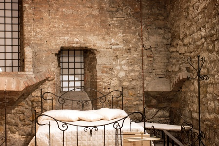 View of a bedroom medieval, Perugia - Italy Editorial