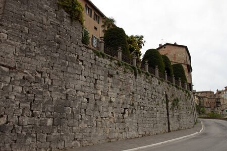 View of the ancient Etruscan walls of the city of Perugia, Umbria - Italy photo
