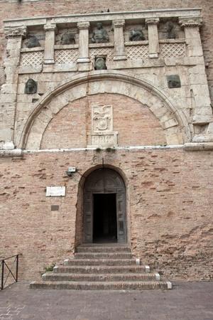 priori: Portal of the Arts of the Palazzo dei Priori in Perugia, Umbria, Italy Editorial