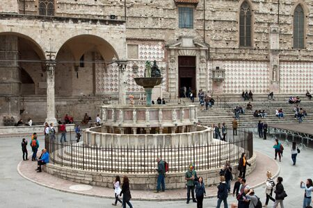 Famous fountains in the square in the center of Perugia