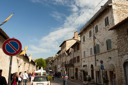 View of main street in Assisi, Umbria - Italy