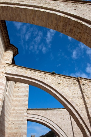 Lateral arches of the church in Assisi, Umbria - Italy photo