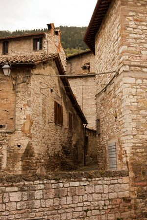 Alley in the historic center of Gubbio, Umbria - Italy photo