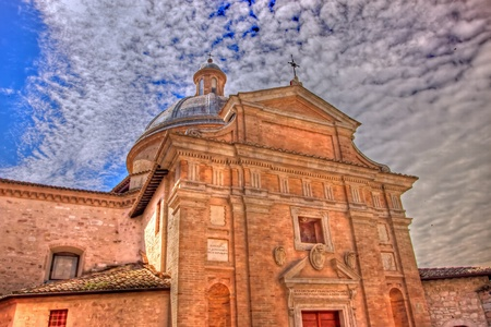 Frontal view of the church of Assisi tonemapped, Umbria - Italy photo