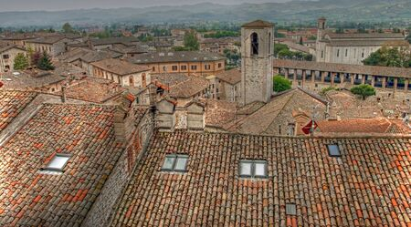 Panoramic view of the city of Gubbio tonemapped, Umbria - Italy photo
