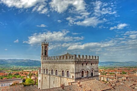 Consul Palace in the historic center of Gubbio in hdr, Umbria - Italy