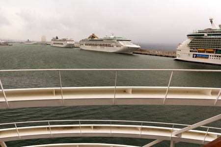 oceana: P&O Oceana cruise ship docked at Civitavecchia harbor, Italy. The vessel is operated by the P&O Cruises line.