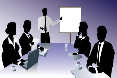 negocio silueta de reunión