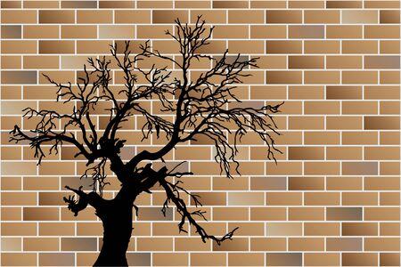 dead tree on brick wall Stock Vector - 14254640