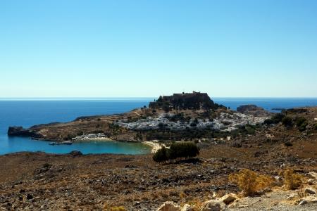 Vista della citt� di Lindos, Rodi isola di Rodi, Grecia Archivio Fotografico