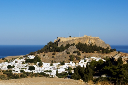 View of Lindos City, Dodecanese island of Rhodes, Greece photo