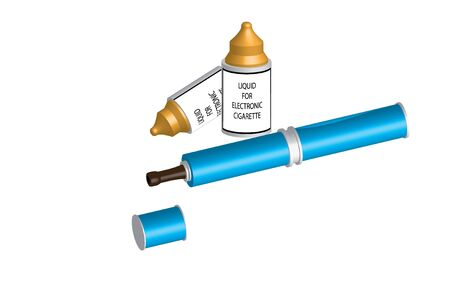 e cigarette: electronic cigarette and liquid - light blue color Illustration