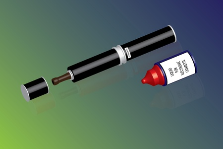 e cigarette: electronic cigarette and liquid  Illustration
