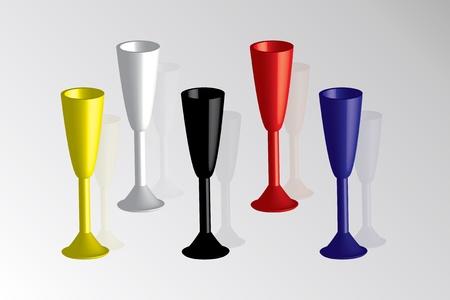 vetri colorati per champagne Vettoriali
